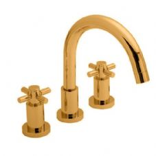 Hudson Reed Tec Crosshead 3 Hole Bath Filler in DoratO 24ct Gold